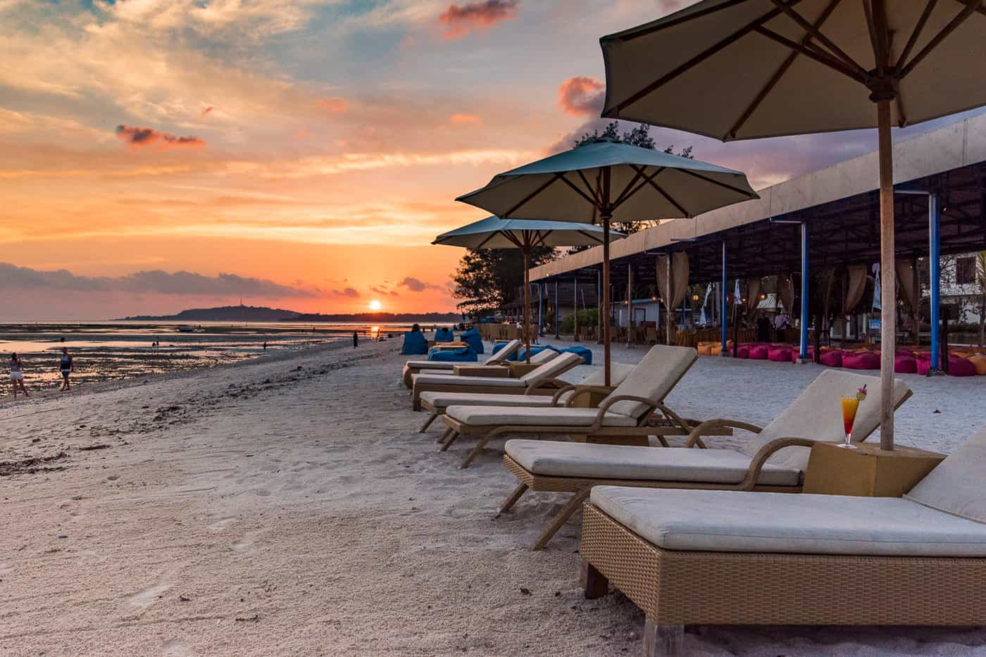 Sunset beach view at Hotel Ombak Paradise in the Gili Islands of Lombok Indonesia